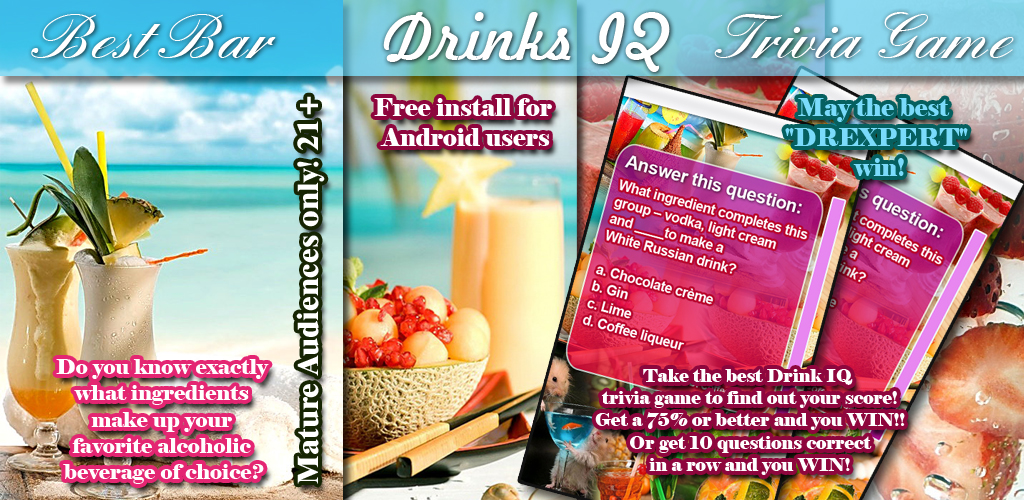 Bar Drinks Mix IQ Trivia Game Feature