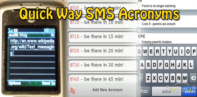 Quick Way SMS Acronyms Feature